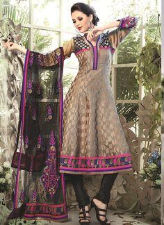 Shop Online Beige Chanderi Cotton Silk #AnarkaliSuits @Chennaistore.com Anarkali Suits Online Shopping, Salwar Suits Online, Designer Punjabi Suits, Designer Anarkali, Salwar Kameez, Churidar, Silk Anarkali Suits, Ethnic Wedding, Latest Sarees