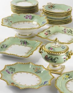 A FLIGHT, BARR & BARR PORCELAIN GREEN-GROUND PART DESSERT SERVICE<br>CIRCA 1830 | Lot | Sotheby's
