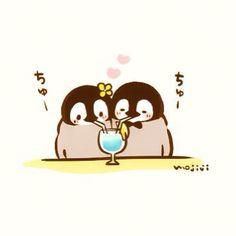Penguin date night Penguin Drawing, Penguin Art, Penguin Love, Cute Penguins, Chibi Cat, Cute Chibi, Penguin Illustration, Penguin Pictures, Chibi Food