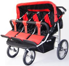 Red and Black Triple Trio Baby Jogger Stroller with Rain Canopy – Free Matching Carry Bag – activelivingessen… – strollers Quad Stroller, Baby Jogger Stroller, Vista Stroller, Baby Strollers, Julia Gomes, Double Strollers, Twin Mom, Boho Baby Shower, Prams