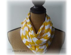 Infinity Scarf  Yellow Chevron Scarve  Knit Loop by UrbanThreader