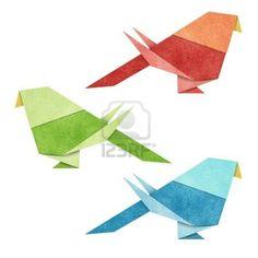 Pájaros de Origami con Papel Reciclado