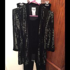 R&M Richards Black & Silver Pants Set R&M Richards black & silvery velvety zebra pattern jacket with attached velvety blouse. Matching black pants. Like new. Size 10. R&M Richards Other