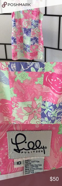 Lilly Pulitzer Dress Floral and turtles fun sun dress by Lilly Pulitzer gently worn once Lilly Pulitzer Dresses