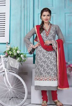 Semi #Stitched Gray #Faux Georgette #Straight Cut #Suit #nikvik  #usa #designer #australia #canada #freeshipping #suits #pakistani
