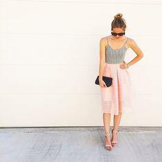 LivvyLand // pink skirt, gingham top!
