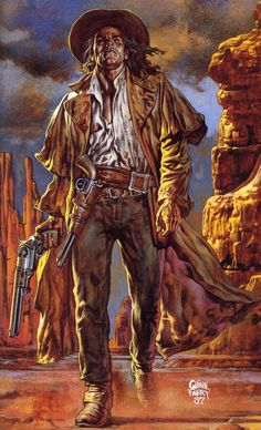 Another great Glen Fabry Preacher cover.  I love how he exaggerates the already gigantic Colt Walker pistols.