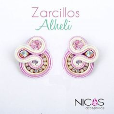 "Zarcillo Alhelí from our 2016 collection ""Always Spring"" The finish of . - Zarcillo Alhelí from our 2016 collection ""Always Spring"" The finish of our products is impeccable - Bead Embroidery Jewelry, Soutache Jewelry, Fabric Jewelry, Opal Jewelry, Beaded Embroidery, Soutache Tutorial, Jewelry Illustration, Earring Trends, Jewelry Model"