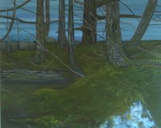 Walking a trail covered with moss,overlooking the ocean. Nova Scotia. Realism oil painting. Size 24x30