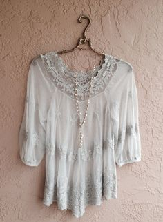 Bohemian sheer romantic lavender embroidered lace by BohoAngels, $120.00