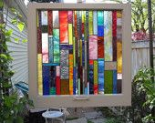 Antique and Repurposed Chicago Bungalow Window with NEW handmade Stained Glass Suncatcher