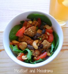 hearty spring salad with chicken and bacon