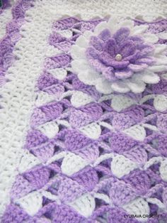 Tutorial Crochet Patterns PDF Beautiful Lilac White Baby Blanket With Aster Flower, Instant Download Lyubava Crochet Patterns number 23, 21