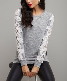 Sheer lacy sleeves lend elegant feminine allure to the classic cut of this lightweight knit top. Size note: This item runs small. Ordering one size up is recommended. Lace Sleeves, Dress Me Up, Cool Outfits, Sweaters For Women, Feminine, Tunic Tops, My Style, Milan, Kiss