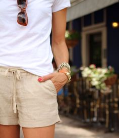 Lightweight, linen shorts. They can be dressed up or down and perfect for hot summer days!