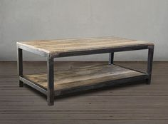 Reclaimed Wood and Metal Coffee Table Two Tier - Free Shipping
