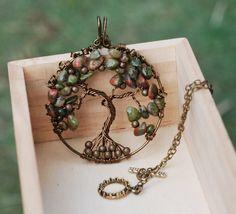 Tree of Life Unakite Gemstone Chips Wire Wrap by jeanninehandmade
