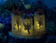 Light up the night using Mod Podge and mason jars with this easy fairy garden idea.