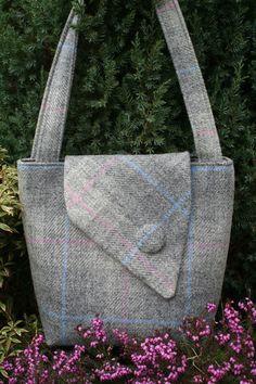 Escocés Harris Tweed asimétrica Tote en comprobación gris