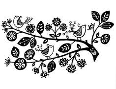 Handmade Birds in a Tree Silhouette PDF Cross-Stitch Pattern