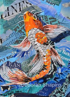 Orange and white koi fish collage on a blue background. I've been contemplating a constructing a pond in my back yard. While I would love to have a koi pond, I'm within a mile or two of a Great Heron nesting site and I see them flying over my yard all the time. Unfortunately, this lovely, expensive fish would not last long in my pond. Original: SOLD Original artwork is created from magazine pages and glued onto a stretched canvas topped with protective layers. Each is signed and ready for…
