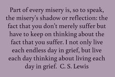 Part of every misery is, so to speak, the misery's shadow or reflection: the fact that you don't merely suffer but have to keep on thinking about the fact that you suffer. I not only live each endless day in grief, but live each day thinking about living each day in grief.  C. S. Lewis