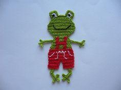 Häkelapplikationen - Froschmädchen in Lederhöschen - Häkelapplikation