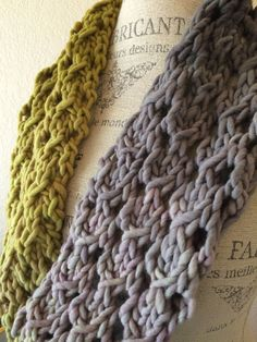 Bulky Lace Cowl Free Knitting Pattern Hand painted Freia Fibers Super Bulky Ombre yarn shines with this lacy cowl pattern. It's a one skein project and works up fast...just a few hours and done! The easy lace pattern is perfect for a first time lace knitter. It has a repetitive and easy to