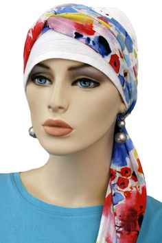 $27.50 - White Gauze 2-Tone Head Wrap - @ hatsforyou.net #cancer #chemo #alopecia #hair loss