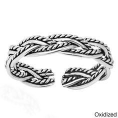 Aeravida Celtic Weave Design Sterling Toe or Pinky Ring