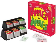 "APPLES TO APPLES®: BIBLE EDITION is the wild, party game that provides instant fun and a great way to deal with any claims of BOREDOM. It's as easy as ""comparing apples to apples"". just open the box Best Games, Fun Games, Party Games, Youth Games, Bible Games, Word Games, Bible Trivia, Family Game Night, Family Games"