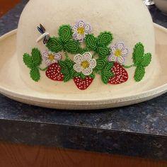 potawatomi beaded strawberry floral hat
