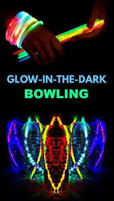 Make your own bowling game using glow sticks and plastic bottles! #glowinthedark #glowinthedarkbowling #diybowlinggame #glowsticks #glowstickbowling #growingajeweledrose #activitiesforkids Educational Activities For Kids, Gross Motor Activities, Summer Activities For Kids, Toddler Activities, Fun Activities, Glow Stick Bowling, Bowling Games For Kids, Glow Sticks, Kids Education