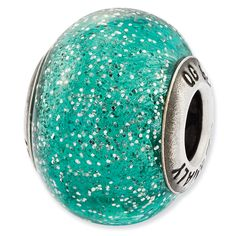 Reflection Beads Sterling Silver Italian Murano Teal w/Glitter Glass Bead  $24 SALE Price.