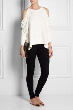 Donna Karan|Collection cutout-shoulder stretch-jersey top|NET-A-PORTER.COM