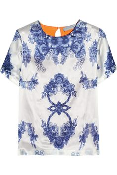 preen | rosemary printed silk-satin top | net-a-porter.com