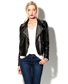 STUDDED FAUX LEATHER JACKET - Vince Camuto