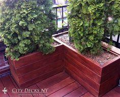 Brazilian IPE Wood Planter Box, Stained with EHT Oil Treatment by City Decks New York, LLC www.citydecksny.com
