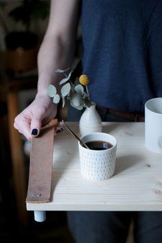 DIY plateau en bois et cuir