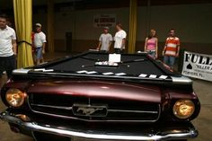 A Mustang Pool Table! We wonder if the balls roll faster on this thing than your average pool table?