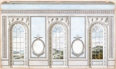 Alternative design for window wall with wide piers, Queen Charlotte's Drawing Room: elevation, Sir William Chambers, R. John Yenn, R. Gypse, Shoe Store Design, Georgian Furniture, Backdrop Design, Royal Academy Of Arts, European Home Decor, Classic Interior, Window Wall, Stage Design