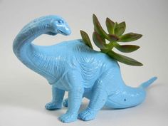 Dinosaur Planter Dust Blue Great For Succulent by crazycouture, $14.50