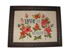 Vintage Handmade Framed Crewel Embroidery Love Is Beautiful Bohemian Hippie Wall Hanging by SavvyFlair, $30.00