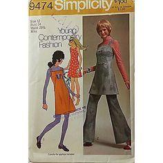 Misses Mini Dress Bell Bottom Pants Simplicity 9474 Pattern Vintage Size 12 c438