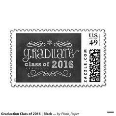 Graduation Class of 2016   Black Chalkboard Stamps.  Artwork designed by Plush Paper Design