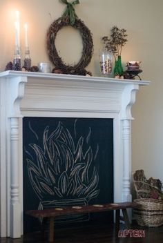 Blackboard paint & a chalked-in blaze for the interior of the faux fireplace