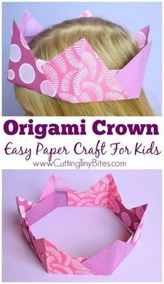 Origami Crown- Easy Paper Craft For Kids. Simple Japanese paper folding, suitable for kindergarteners or early elementary. Great for fine motor development! #artsandcraftsforkids,