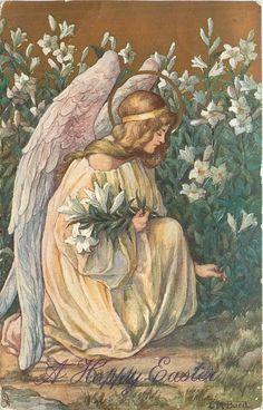 """""""A Happy Easter"""" Kneeling angel picks Easter lilies, 1913.  C.M. Burd ~ artist."""