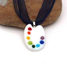 Fused Glass Artist's Palette Pendant by buffaloartglass on Etsy