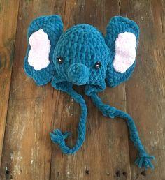 Baby Elephant Hat by MaeDayCrochetShop on Etsy Elephant Hat, Cute Elephant, Vintage Buttons, Baby Booties, Baby Hats, Little Ones, Crochet Hats, Crafty, Etsy